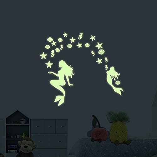 (akeke Glow in The Dark Mermaid Peel and Wall Decals Ocean World Decorations Wall Stickers Glow in The Dark Stars for Girls Bedroom Home Decor)