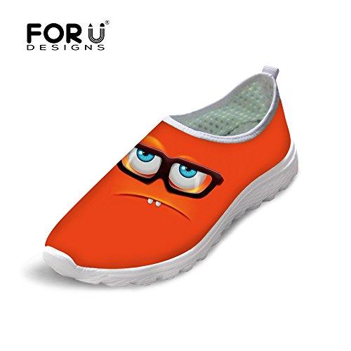 Voor Jou Ontwerpen Grappige Emoji Print Heren & Dames Mesh Comfortabele Slip Op Loopschoenen Oranje 2