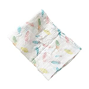 Swaddle Blankets Muslin- Bamboo Cotton Baby Swaddle Wrap, Burping Cloth & Stroller Cover – Baby Blanket/Feather Print (white feather)