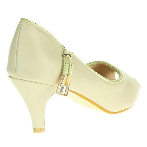 Frau Damen Abend Hochzeit Party Abschlussball Braut Beiläufig Peep Toe Mitten Kätzchen Ferse Sandalen Schuhe Größe Beige
