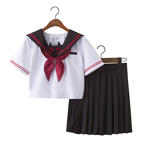 Japanese School Uniform Adult Women, Halloween Sailor Cosplay Costume Outfit Short Sleeve (Sailor Fuku Costume)