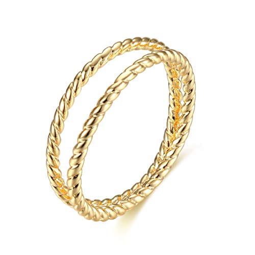 Valloey 14K Gold Thin Beaded Rings, Full Bead Sterling Twisted Rope Wedding Band Stacking Ring for Women(Ring-Rope-8)