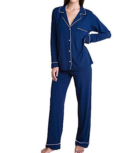 - Eberjey Women's Gisele Two-Piece Long Sleeve & Pant Pajama Sleepwear Set, Navy/Ivory, Large