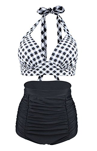 Halter Bikini Plaid (GOLDSTITCH Women's Floral Halter High Waist Bikini Swimsuit Floral Printing Bathing Suits 2 Pieces White Plaid L,US8(Tag L),White Plaid+black Pants)