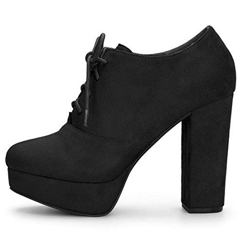 Allegra K Women's Platform Chunky Heel Lace up Booties Black 7 UK jTgc0