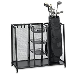 Metal Two Bag Golf Organizer l Hold Two Golf Bags, Three Wire Baskets for storing Balls, Tees, Gloves and Four Metal Hooks for Additional Storage