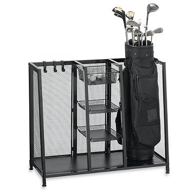 Metal Two Bag Golf Organizer l Hold Two Golf Bags, Three Wire Baskets for storing Balls, Tees, Gloves and Four Metal Hooks for Additional Storage by Generic