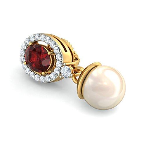 Or jaune 14K 0.25CT TW White-diamond (IJ | SI) et grenat et blanc cassé Perle Boucles d'oreilles