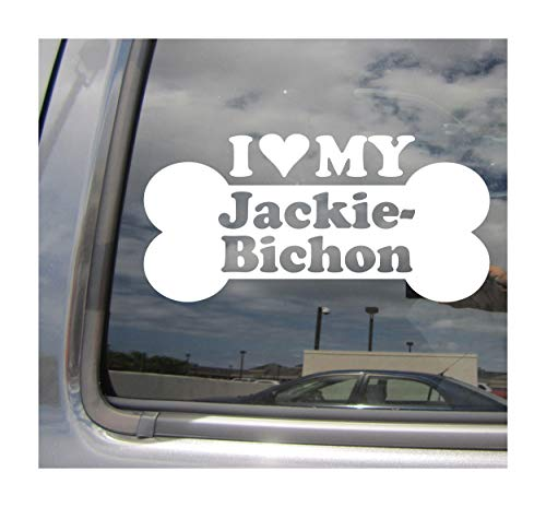 Jack Russell Bichon - I Heart Love My Jackie-Bichon - Dog Bone Jack Russell Terrier Bichon Frise Designer Mixed Hybrid Breed Cars Trucks Moped Helmet Auto Automotive Craft Laptop Vinyl Decal Store Window Wall Sticker 13529