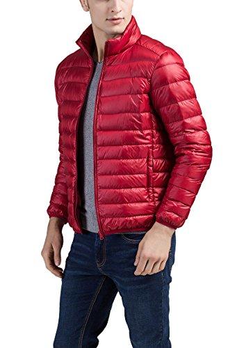 Men's Jacket Packable XXXL Lightweight Jacket Standing Padded Down Collar Puffa Coat Panegy Warm Red ST4xqq