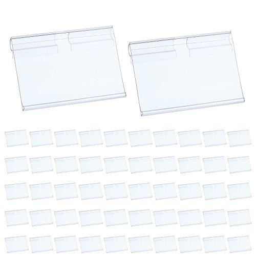 Hestya Price Label Holder Clear Plastic Wire Shelf Retail Label Holder Merchandise Sign Display Holder (80)