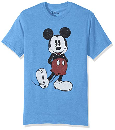 Disney Men's Full Size Mickey Mouse Distressed Look T-Shirt, Light Blue Heather Small