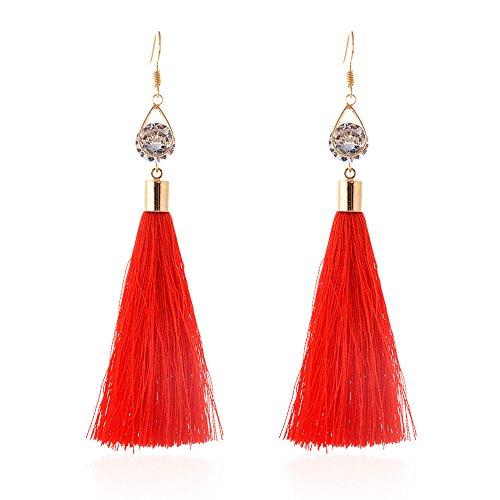 Redvive Top Bohemian Women Fashion Woolen Tassels Earring Gorgeous Hoop Earrings -