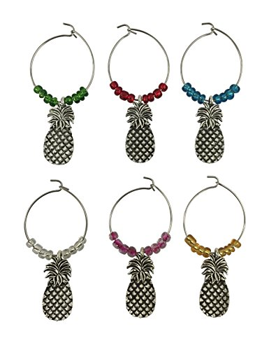 Boston Warehouse Pineapple Wine Charms, Set of 6