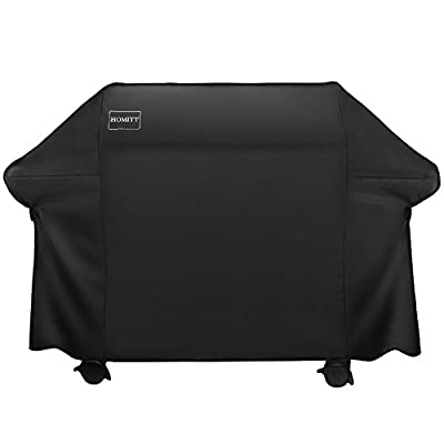 Homitt Gas Grill Cover, 58-inch 3-4 Burner 600D Heavy Duty Waterproof BBQ Cover Handles Straps Most Brands Grill -Black