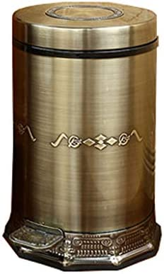 Trash Can GX Multifunction Foot Tread Stainless Steel Green Bronze Home Luxury Creative Paper Basket Household Supplies (Size : 6L) / Trash Can GX Multifunction Foot Tread Stainless Steel Green Bronze Home Luxury Creative Paper Bas...