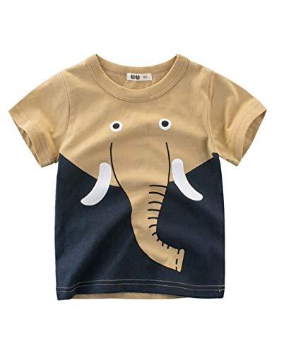 Askong Boys Short Sleeve T-Shirt,Boys Cartoon Elephant Animal Printing Tops Sweatshirt Clothing for 5-6 Years Khaki -