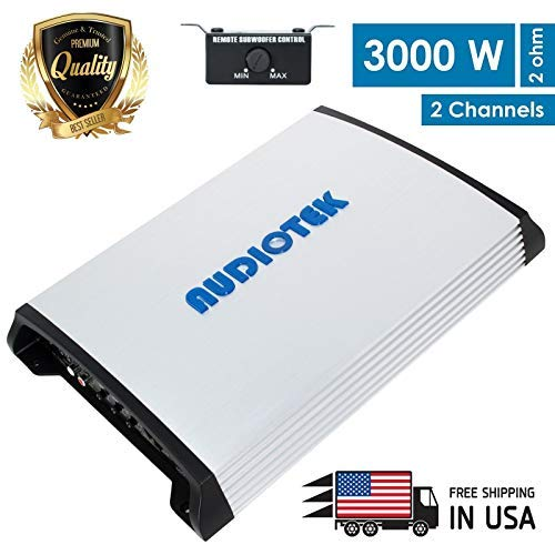 Audiotek AT940S 2 Channel Class A/B 2 Ohm Stable 3000W Car Audio Stereo Amplifier w/LED Indicator
