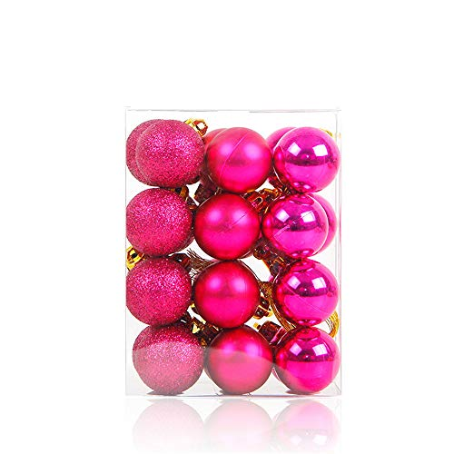 NITORA 24PCS Christmas Xmas Tree Ball Bauble Home Party Ornament Hanging Decor 30mm (hot Pink)