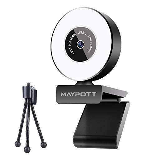 1080P Webcam, Maypott Live Streaming Webcam with Microphone, Ring Light & Tripod, Advanced Auto-Focus, Adjustable Brightness, for Skype, Twitch, Xbox One, YouTube, Laptop, Desktop, Black