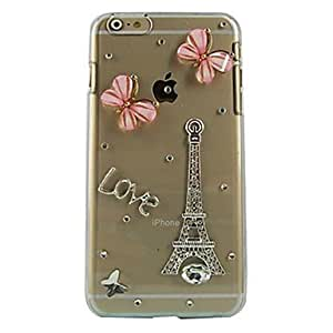 WQQ Tower and Butterfly Design Pattern Transparent PC Hard Case for iPhone 6 Plus