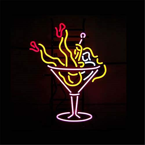 FINEON Cocktails Rock rool Girl Real Glass Tube 17(w) insx13(h) ins Neon Sign Light for Beer Bar Pub Garage Room Bedroom Windows Gift Billboard