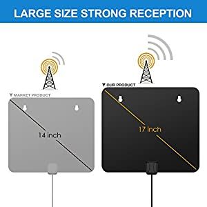 TV Antenna For Digital TV Indoor, HDTV Antenna, 50-85 Miles Digital Antenna, 10Ft Coax Cable With Detachable Amplifier, Indoor TV Antenna Black Upgrated Version For More Stable Reception