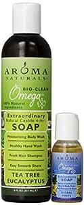 Aroma Naturals Extraordinary Natural Castile 4-In-1 Soap, Tea Tree Eucalyptus, 8 Ounce