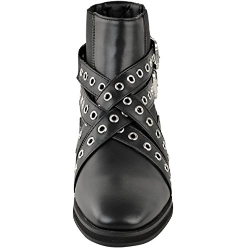 Ladies Ankle Strappy Studded Winter Shoes Womens Boots Faux Flat Size On Chelsea Pull Leather Black gU4wHd4q