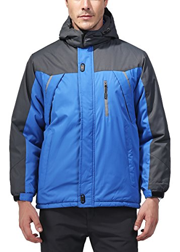 Vcansion Men's Waterproof Windproof Outdoor Snow Jacket Ski Fleece Jacket Blue XL
