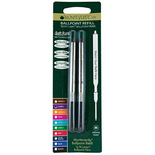 Monteverde Soft Roll Ballpoint Refill for Lamy Ballpoint Pens, Purple, 2 Pack (L132PL) Photo #3