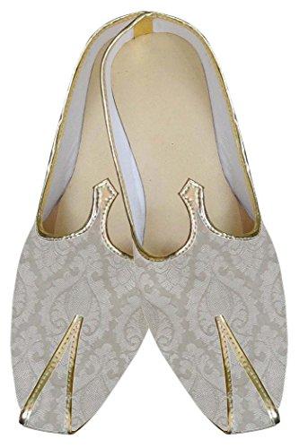 INMONARCH Diseñador de Marfil Hombres Zapatos de Brocado MJ0088