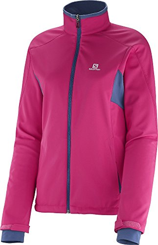 Salomon Active Softshell Cross Country Ski Jacket Pink/Abyss Blue Womens Sz M
