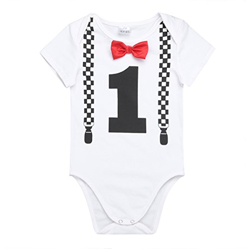 iEFiEL Baby Boys Short Long Sleeves My 1st Birthday Bodysuit Romper One-Piece Jumpsuit Party Photography Outfits