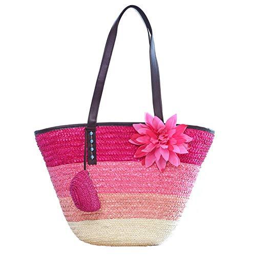 Summer Knitted Straw Wheat Pole Weaving Women's Handbags Flower Bohemia Shoulder Bags Lady's Beach Bag Tote Rose red handbag