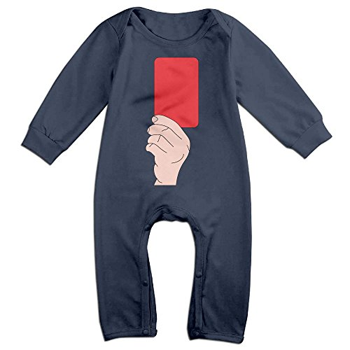 Sexy Referee Outfits (Baby Infant Romper Red Card Referee Long Sleeve Bodysuit Outfits Clothes Navy 6 M)
