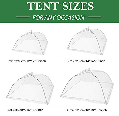 Food Cover Tents (4 Pack) - Combo Set of Pop Up Mesh Covers in 4 Sizes - Umbrella Screens for Picnics, BBQ, Outdoors and More