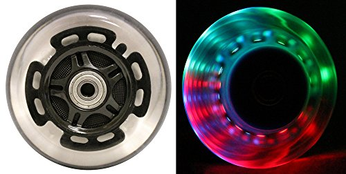 L.E.D. Scooter Wheels With Abec 9 Bearings for Razor Scooters 100mm Light Up Black 2-pack by Bigfoot Wheels