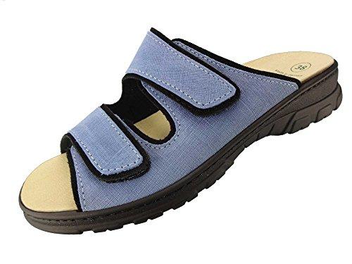 Algemare Pantolette Sandalette Jeans Velour waschbares Algenkork Wechsel-Fußbett Serrapielfutter 6446_0887, Größe:36