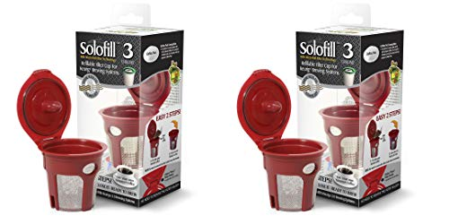 2 Solofill K3 Chrome CUP Chrome Refillable Filter Cup for Keurig-r (RED, 2) Alta Mini Intake System