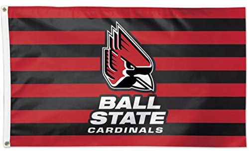 WinCraft Ball State Cardinals NCAA Deluxe Flag, Stripes Edition, 3 x 5 (Cardinal 3 Stripe)