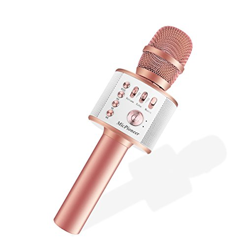 Micpioneer Wireless Karaoke Microphones, 3 in 1 Multi-function Bluetooth Microphone Speaker for iPhone, Android, Portable Mic Player for KTV, Home, Party Singing (Rose Gold)
