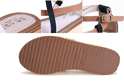 Flat Real Rubber Sandals Gladiator Soles Flip Womens Flop Open H Toes amp;W Red Gum Leather IxEqFRRgw