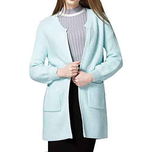Pullover Mode Aperto Cappotto Tempo A Maglioni Di Giacca Bolawoo Monocromo Libero Donna Blau Maniche Fashion Relaxed Marca Maglia Autunno Outerwear Lunghe Forcella Elegante nAwUqzPU