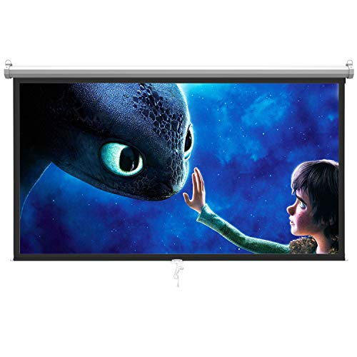 PERLESMITH Manual Pull Down Projector Screen 100 inch 16:9 HD Widescreen - Retractable Auto-Locking Portable Projection Screen for Indoor Outdoor Movie