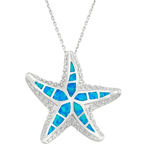 Beaux Bijoux Sterling Silver Created Blue Opal Designed Starfish Pendant with 18 Chain
