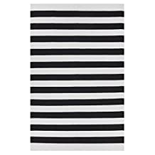Fab Habitat 810327020823 Nantucket Rug, Black and Bright White, 2 by 3-Feet