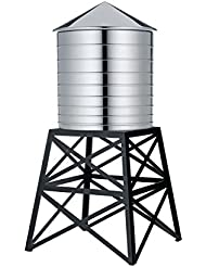 Alessi Water Tower Kitchen Container In Stainless Steel Mirror Polished With Black Stand10 75