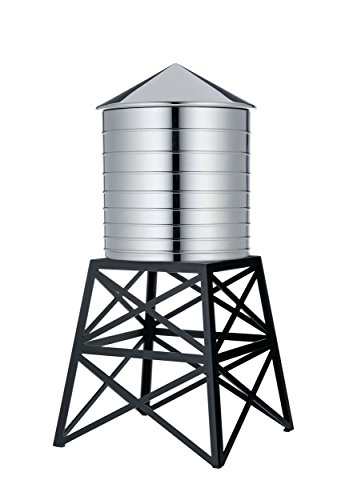 Alessi Water Tower Kitchen Container in Stainless Steel, Mirror Polished with Black -
