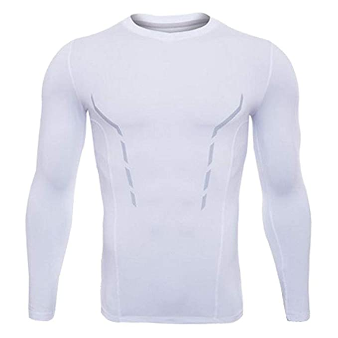 88d4b4324cdd3 TUOKE Men's Breathable Long Sleeve Compression T-Shirt Base Layer Top for  Sport Gym Cycling White: Amazon.ca: Clothing & Accessories